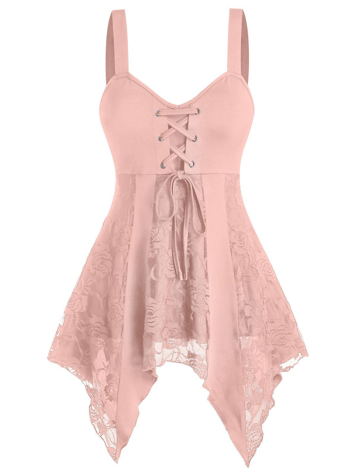 Lace Up Lace Panel Asymmetrical Cami Tank Top - PINK 3XL