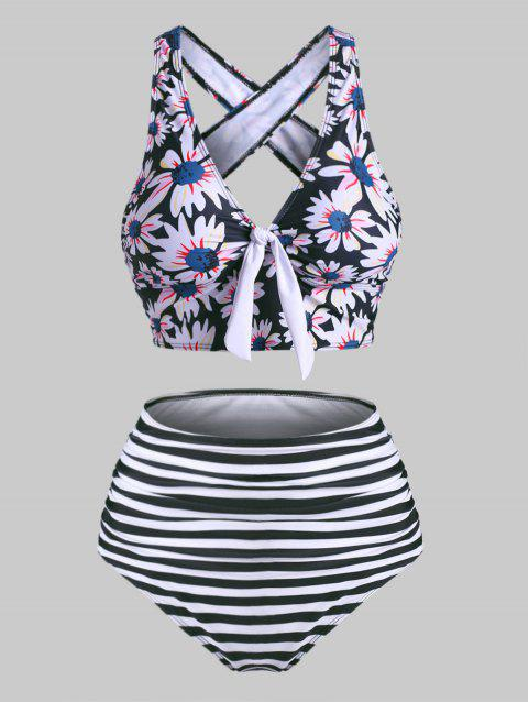 Striped Flower Tied Crisscross Tummy Control Tankini Swimwear