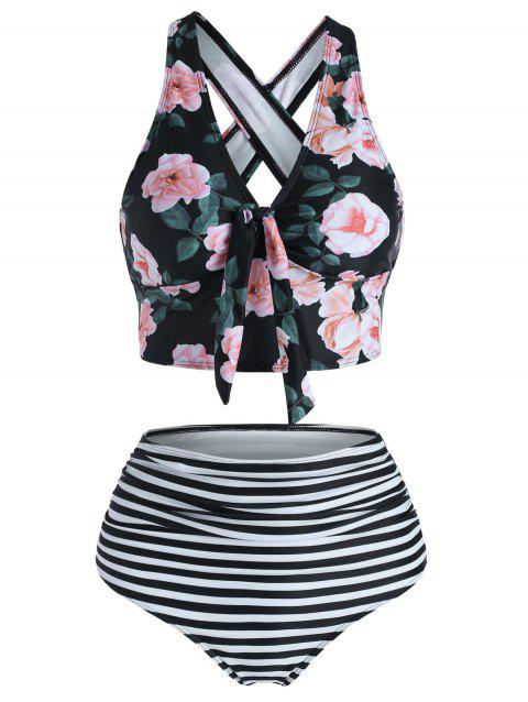 Floral Striped Ruched Crisscross Tankini Swimwear