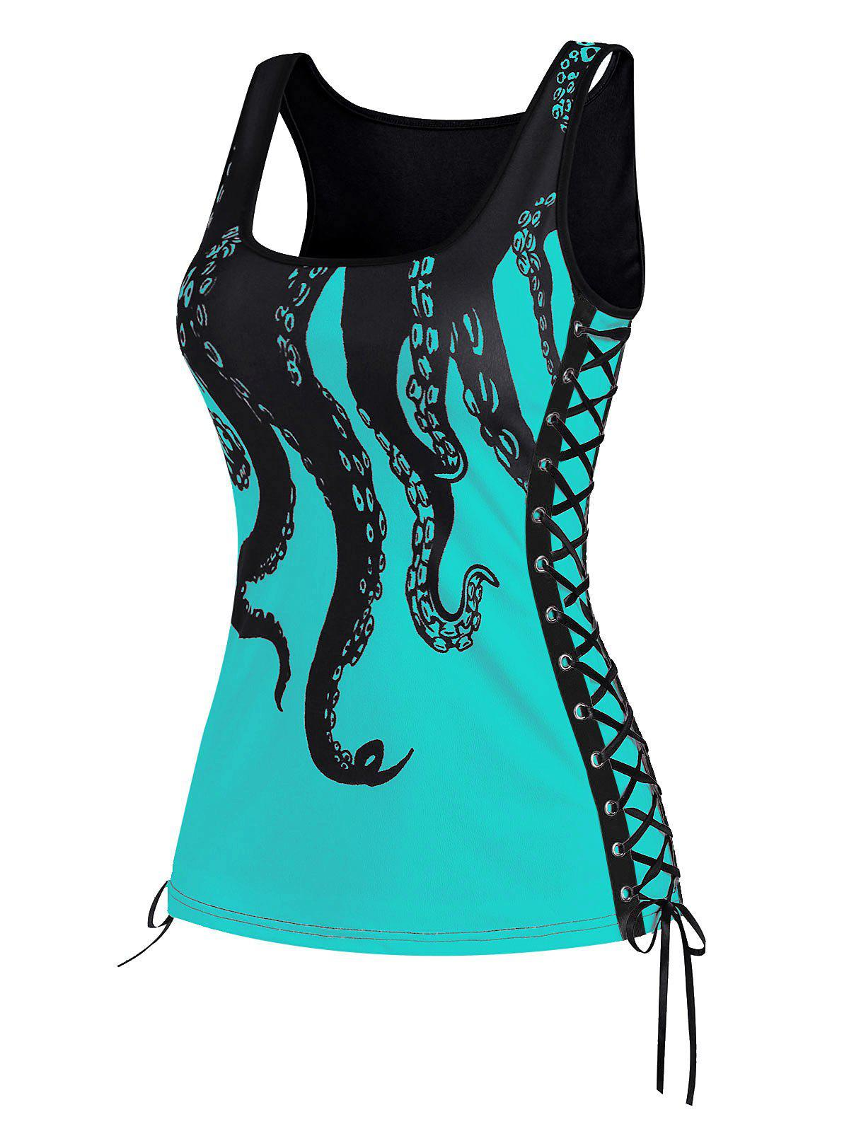 Lace Up Octopus Print Scoop Neck Tank Top - LIGHT GREEN L
