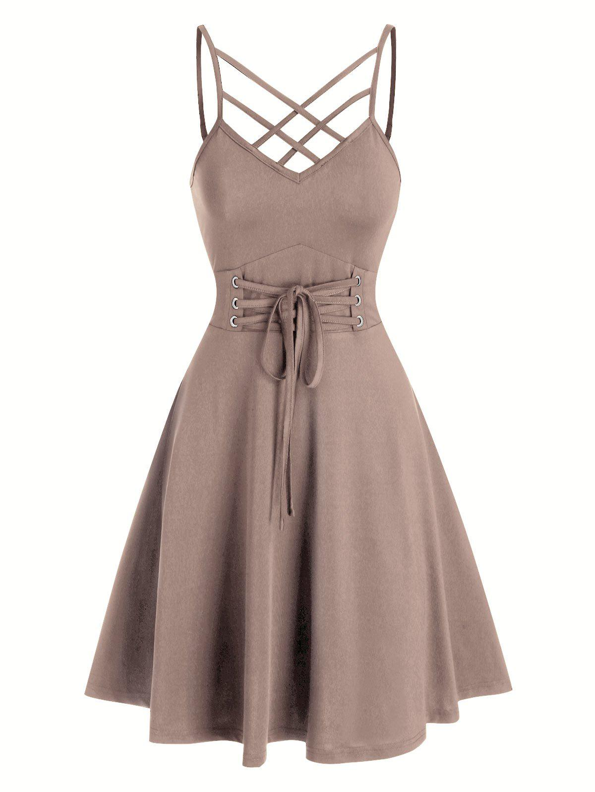 Front Strappy Lace Up Mini Cami Dress - LIGHT COFFEE M