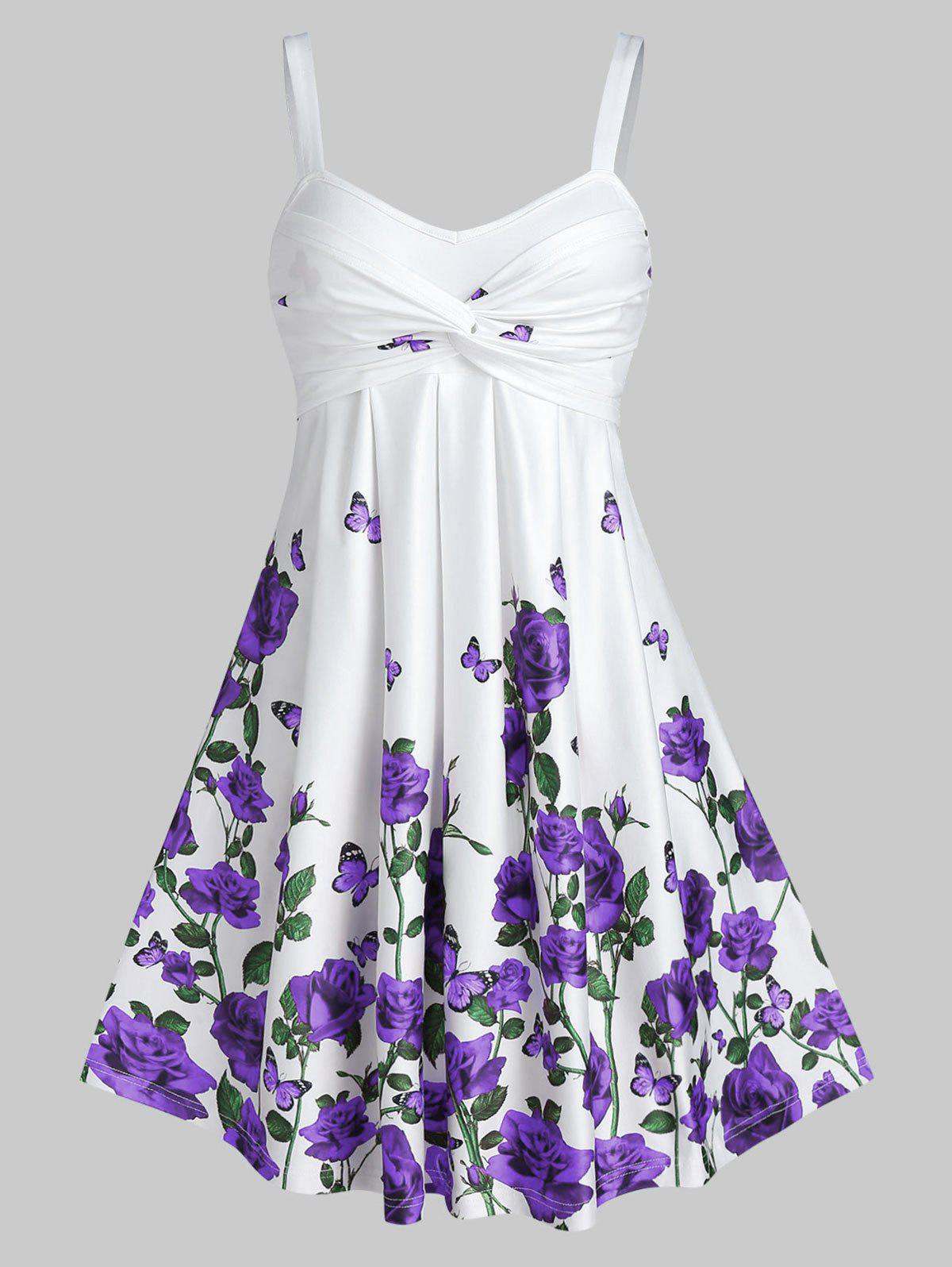 Rose Floral Printed Fit And Flare Dress - PURPLE S