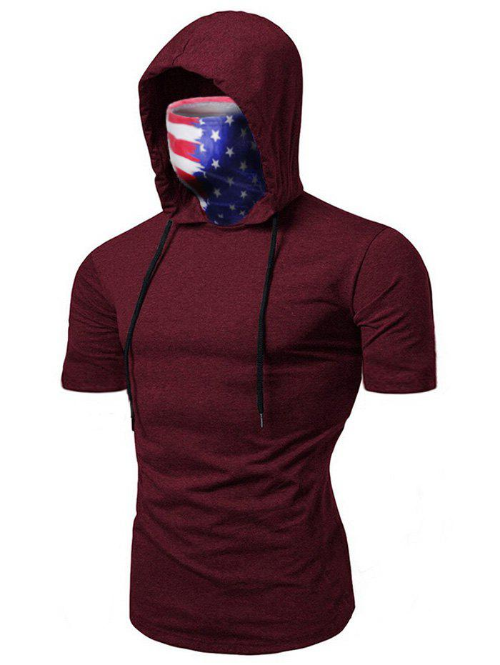 American Flag Mask Hooded Drawstring Short Sleeve T-shirt - DEEP RED 3XL