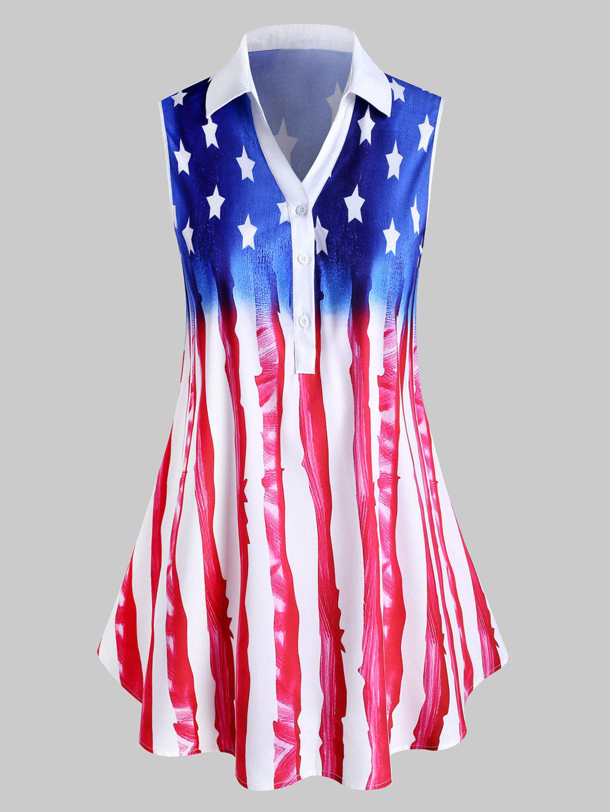 Plus Size American Flag Print Henley Blouse - RED 1X