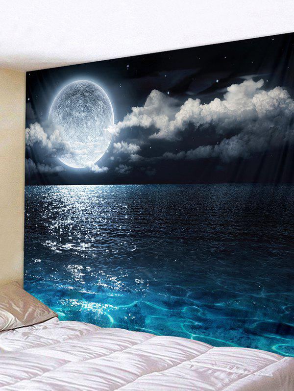 Sea Moon Pattern Removable Tapestry Wall Hanging Decoration - multicolor A W91 X L71 INCH