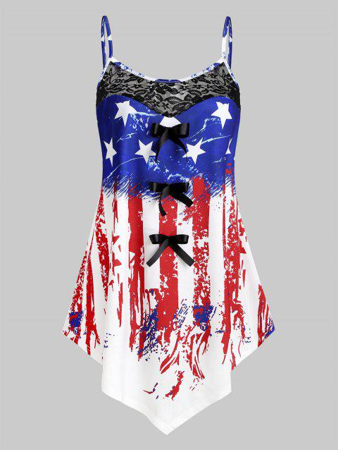 Plus Size Asymmetric American Flag Print Tank Top