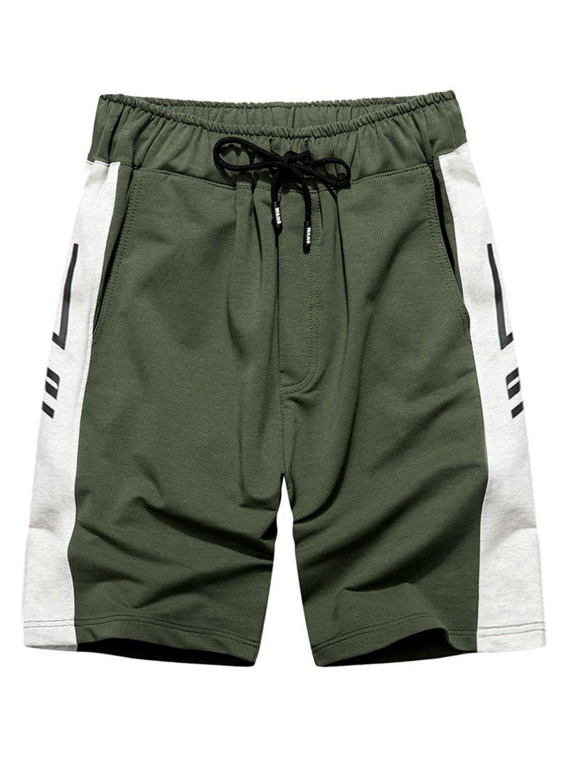 Graphic Print Drawstring Contrast Sweat Shorts - DEEP GREEN XL