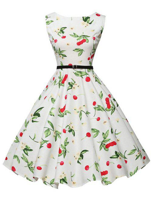 Flower Cherry Print Belted Sleeveless Dress - WHITE M