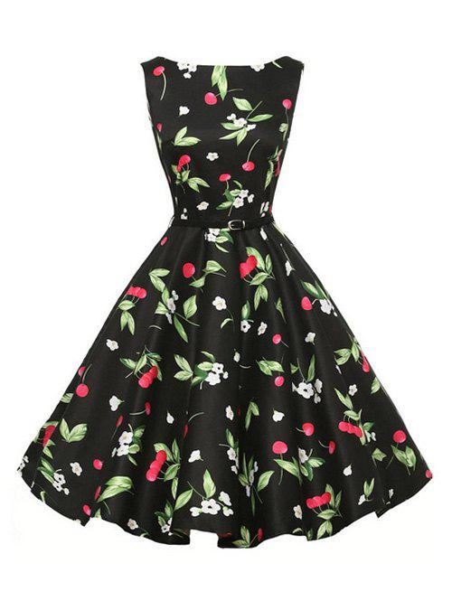 Flower Cherry Print Belted Sleeveless Dress - BLACK S