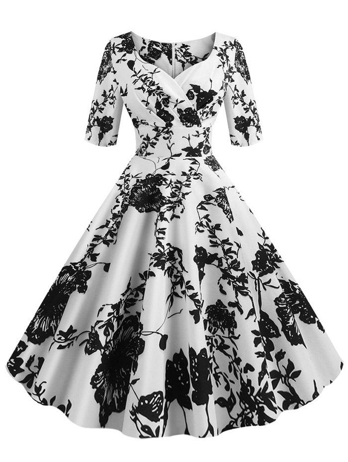 Flower Print Sweetheart Neck Empire Waist Dress - WHITE S