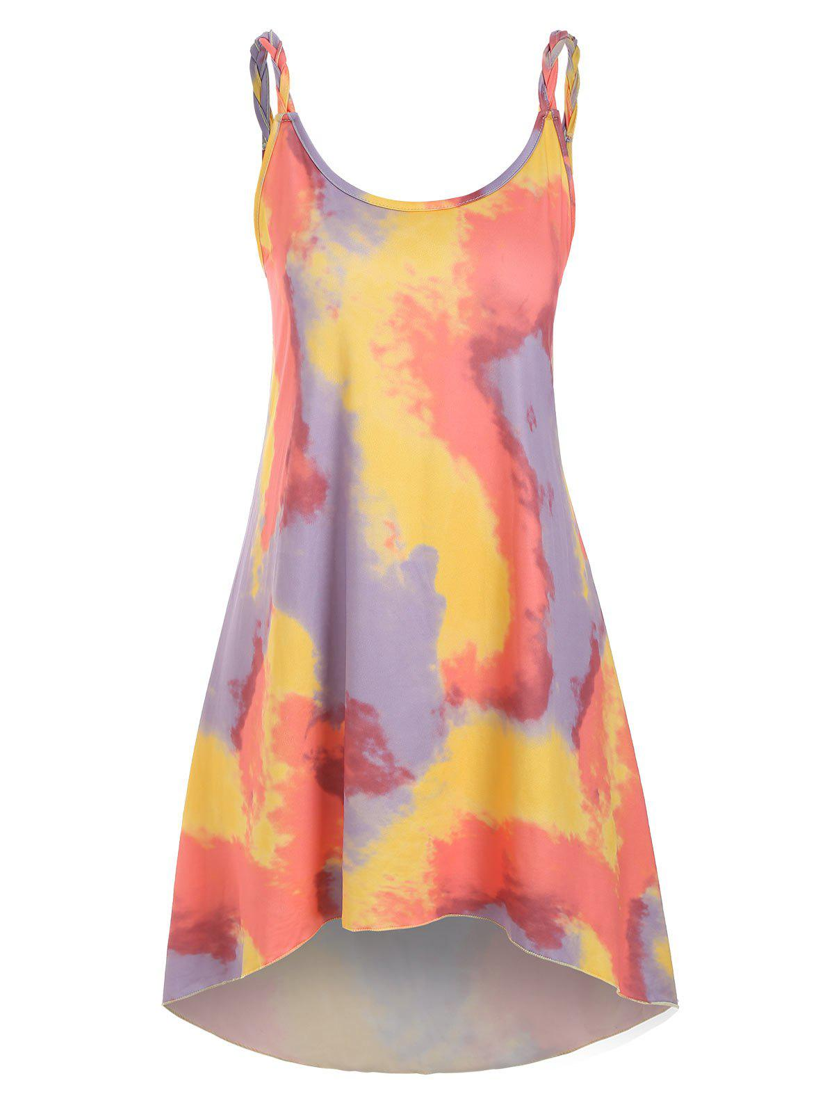 Tie Dye Braided Strap Mini Tank Dress - DARK ORANGE M