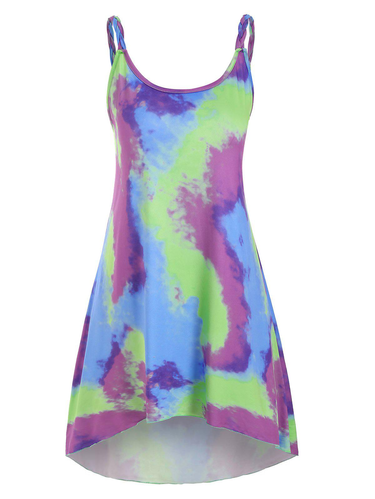 Tie Dye Braided Strap Mini Tank Dress - GREEN M