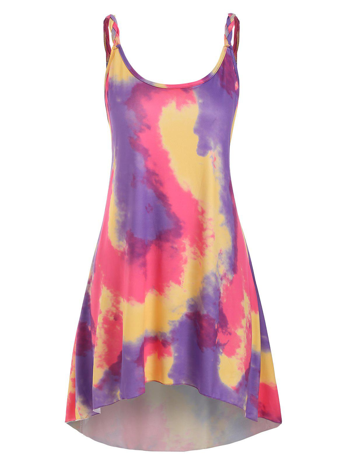Tie Dye Braided Strap Mini Tank Dress - PURPLE L