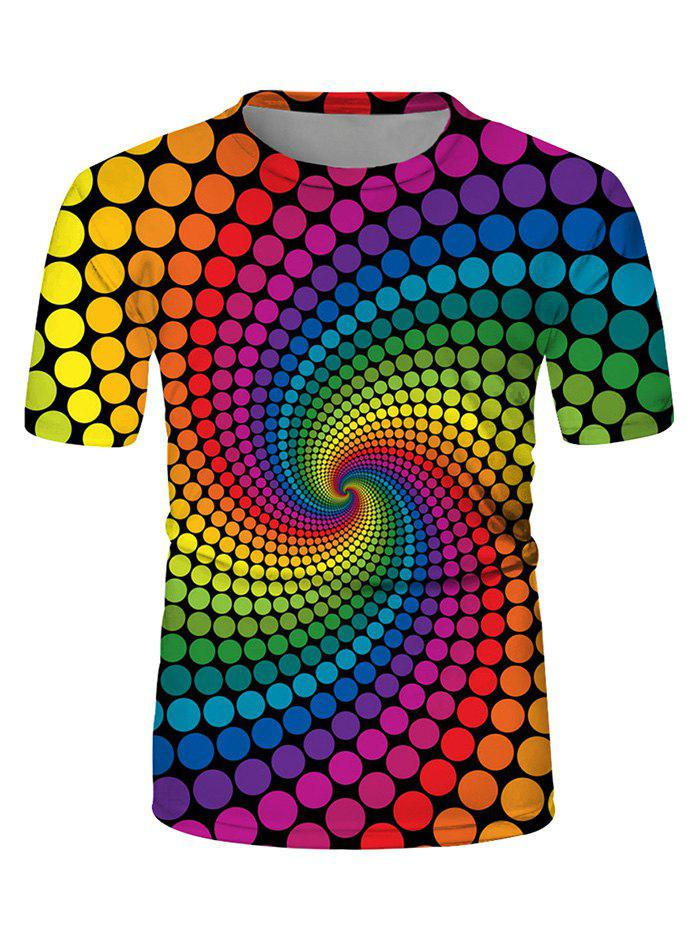 Swirl Spotted Crew Neck Short Sleeve Casual T-shirt - multicolor L