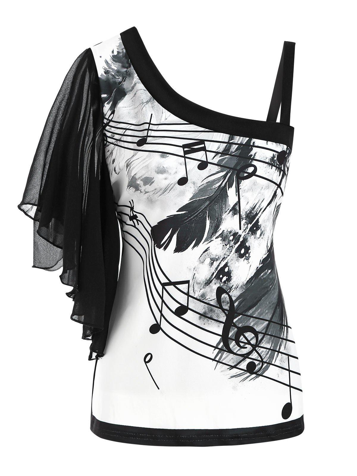 Feather Musical Note Print Skew Neck Butterfly Sleeve T-shirt - BLACK XL