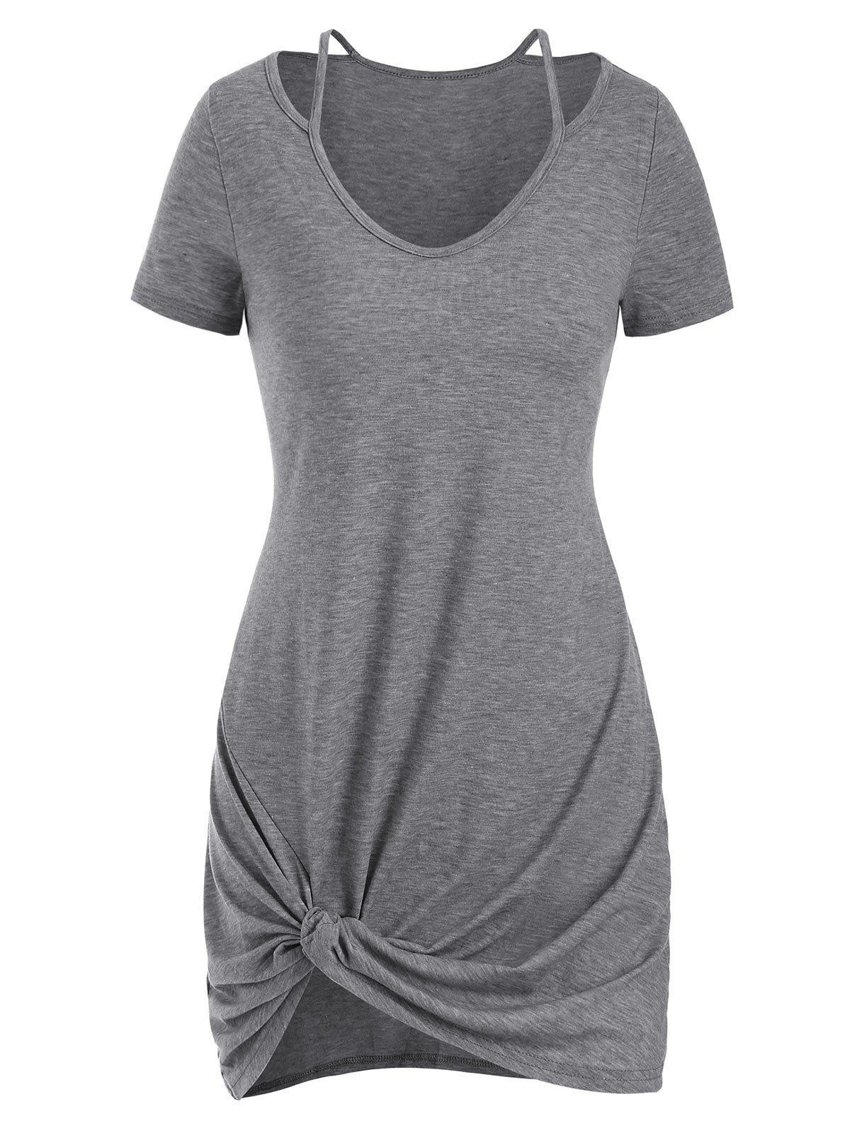 Cut Out Twisted Mini Dress - LIGHT GRAY XL
