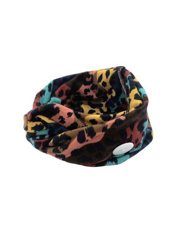 Leopard Elastic Mask Hanging Button Sports Headband - multicolor A COLORFUL LEOPARD
