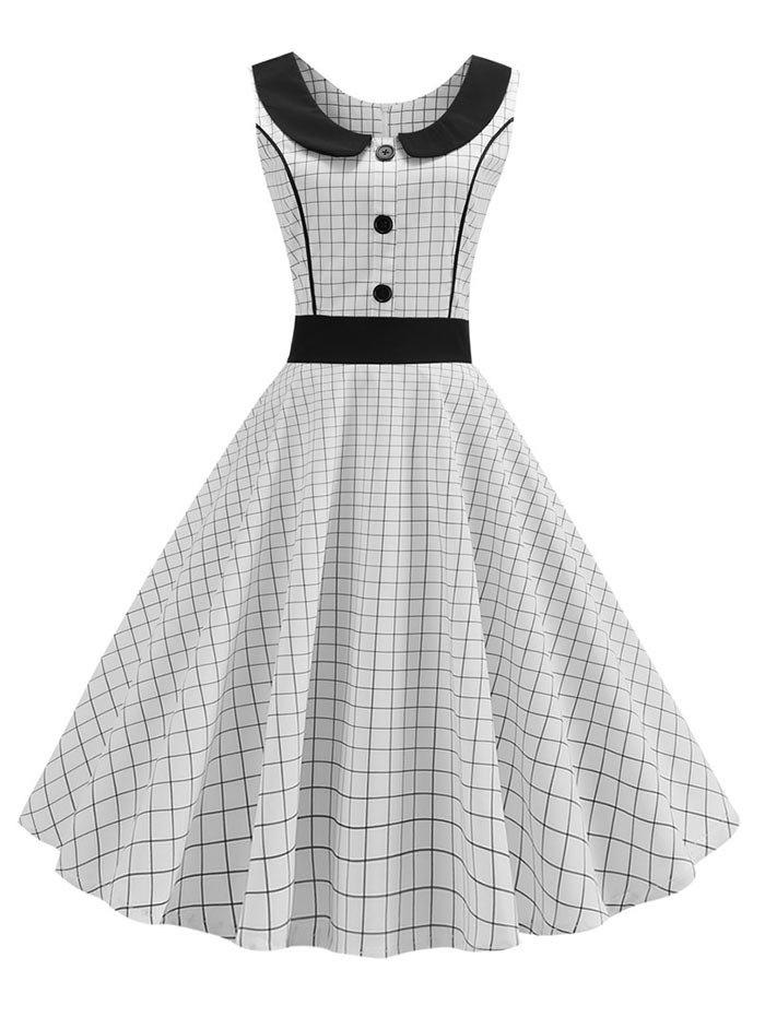 Vintage Checkered Mock Button Sleeveless Dress - WHITE M
