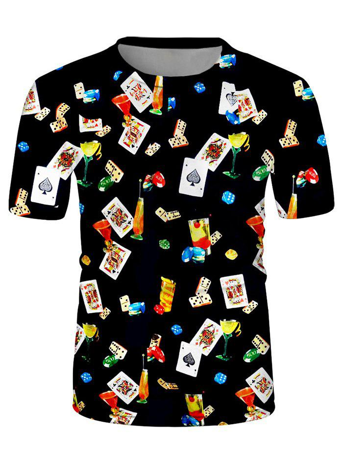 Poker Card Cocktail Print Crew Neck Casual T Shirt - multicolor 3XL