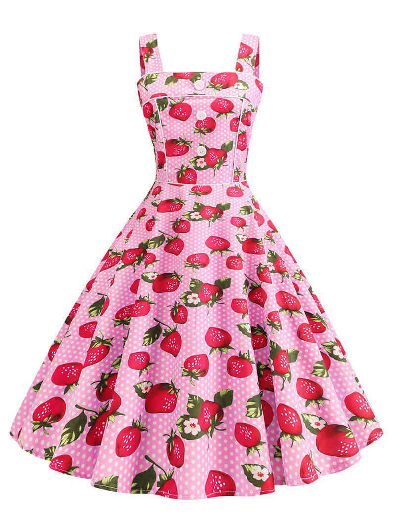 Strawberry Polka Dot Binding A Line Retro Dress - LIGHT PINK 2XL