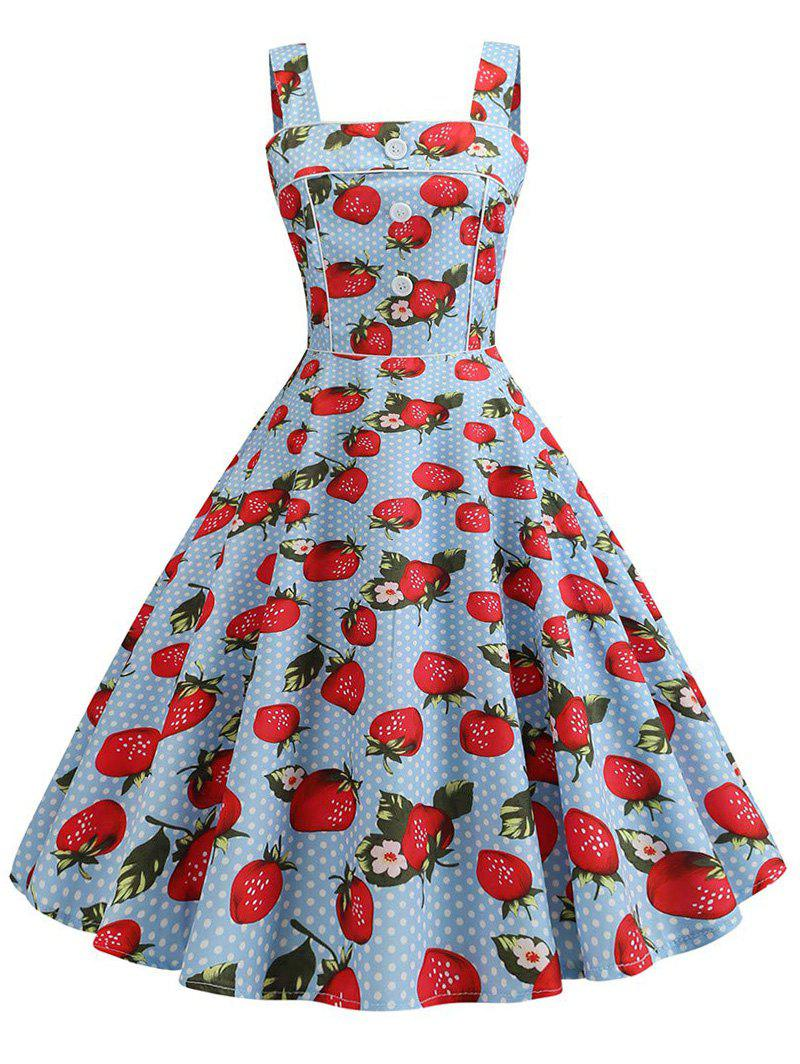 Strawberry Polka Dot Binding A Line Retro Dress - LIGHT BLUE M