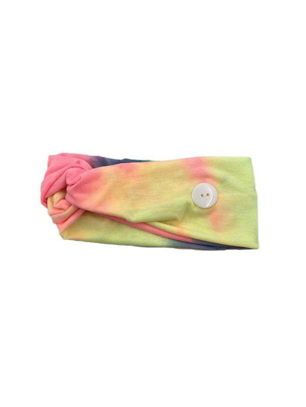 Cross Elastic Button Watercolor Headband - YELLOW YELLOW PINK