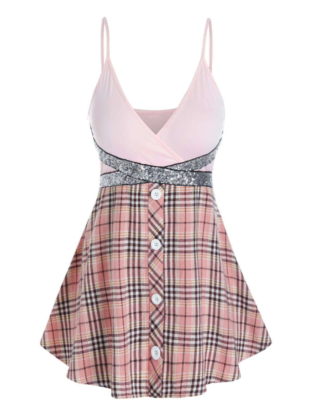 Plus Size Glitter Sequined Plaid Surplice Cami Top - PINK 5X