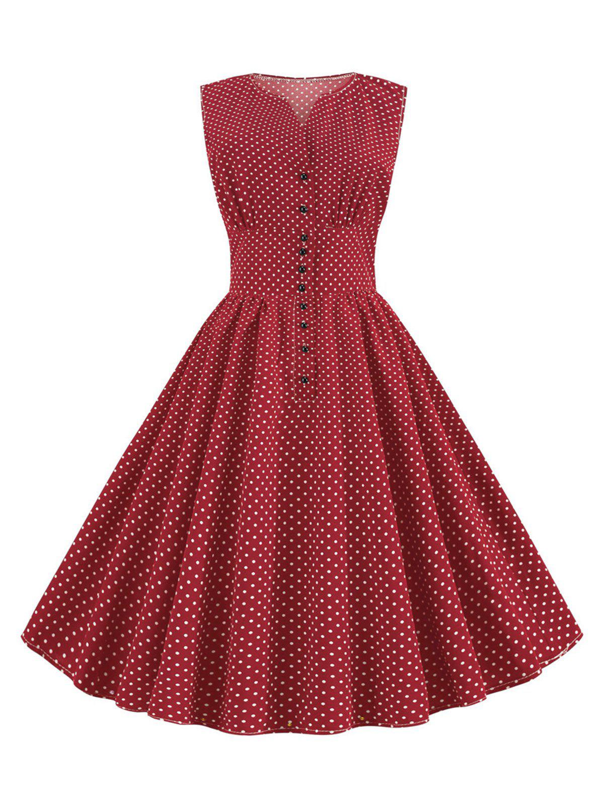 Ditsy Polka Dot Vintage A Line Button Front Dress - RED M
