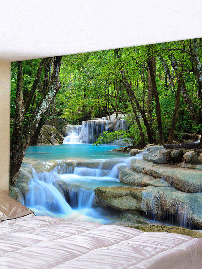 Forest Water Landscape Print Tapestry Wall Hanging Decorations - multicolor W59 X L51 INCH