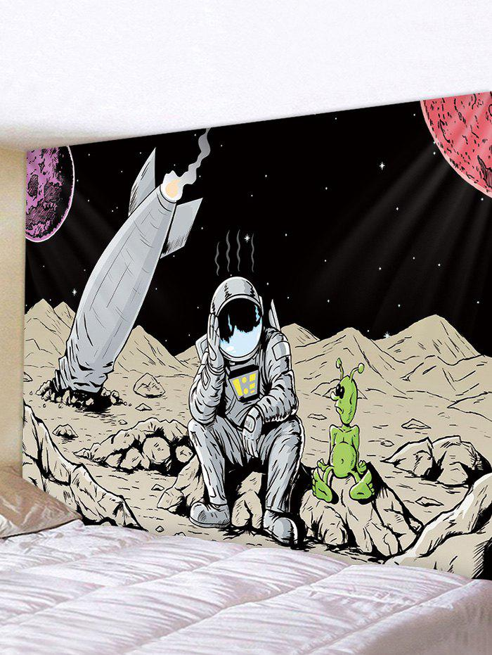 Outer Space Astronaut Rocket Print Decorative Wall Tapestry - multicolor W91 X L71 INCH