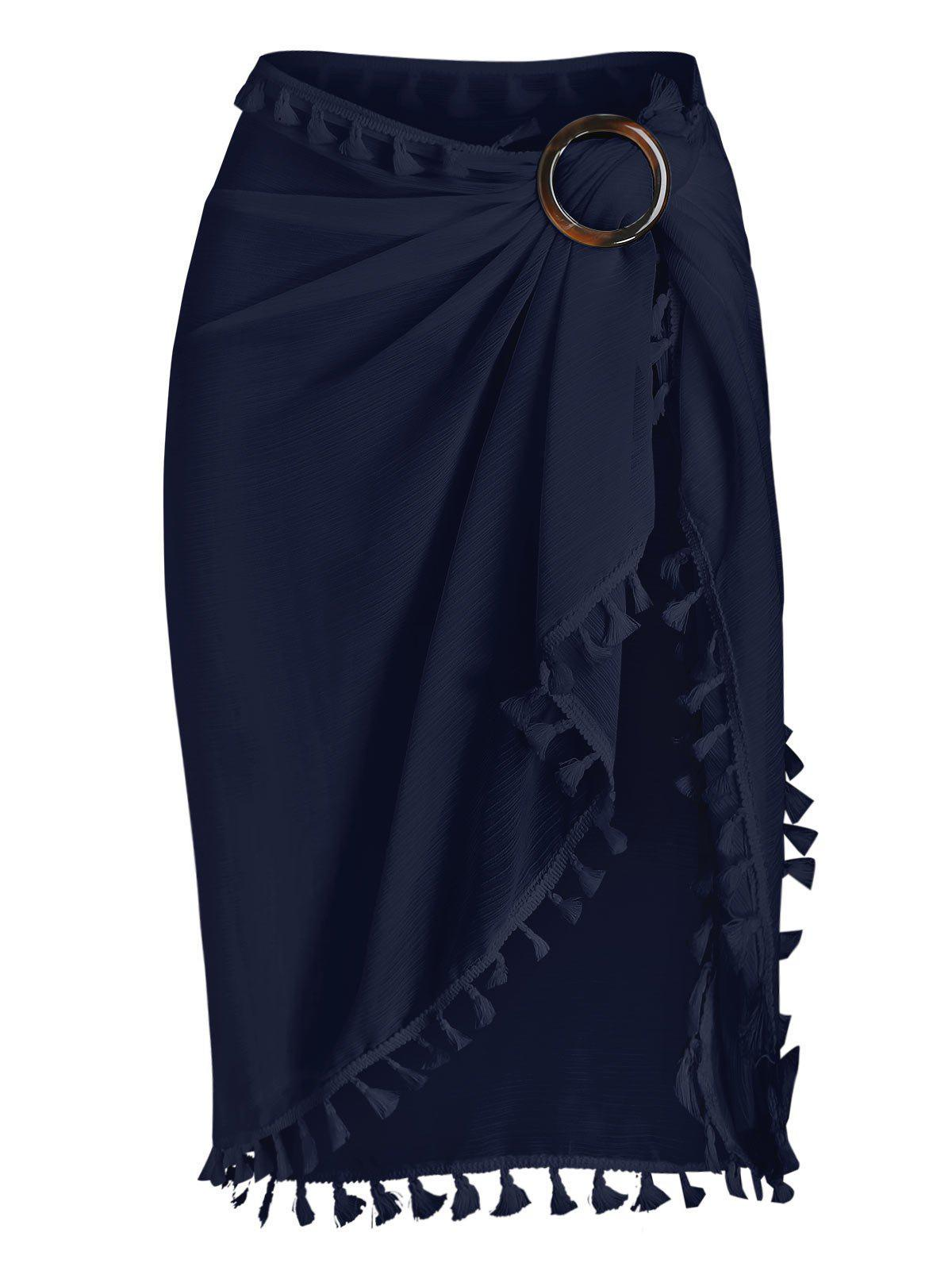 Tassel See Thru Wrap Sarong Cover Up Skirt - DEEP BLUE ONE SIZE