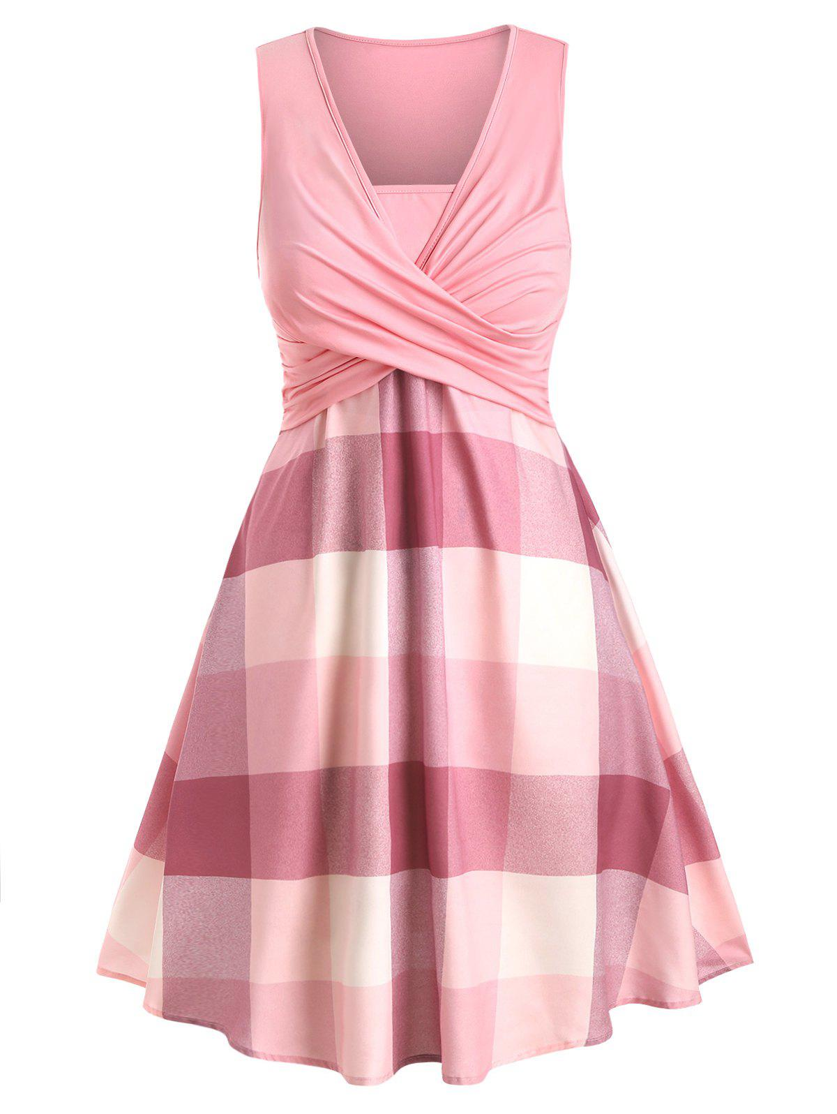 Plus Size Crossover Plaid Dress - LIGHT PINK 1X