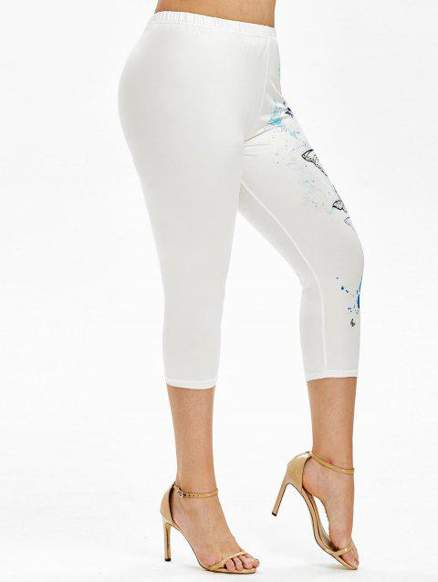 Plus Size Butterfly Print Cropped Skinny Leggings