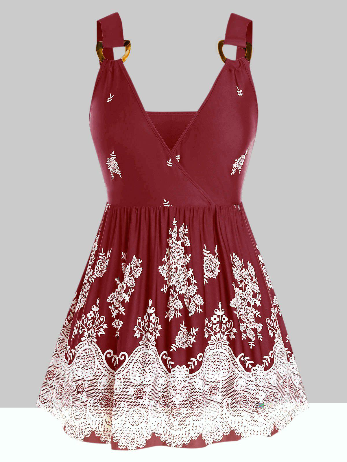 Plus Size Flower Print D-ring Skirted Cami Tank Top - RED WINE 5X