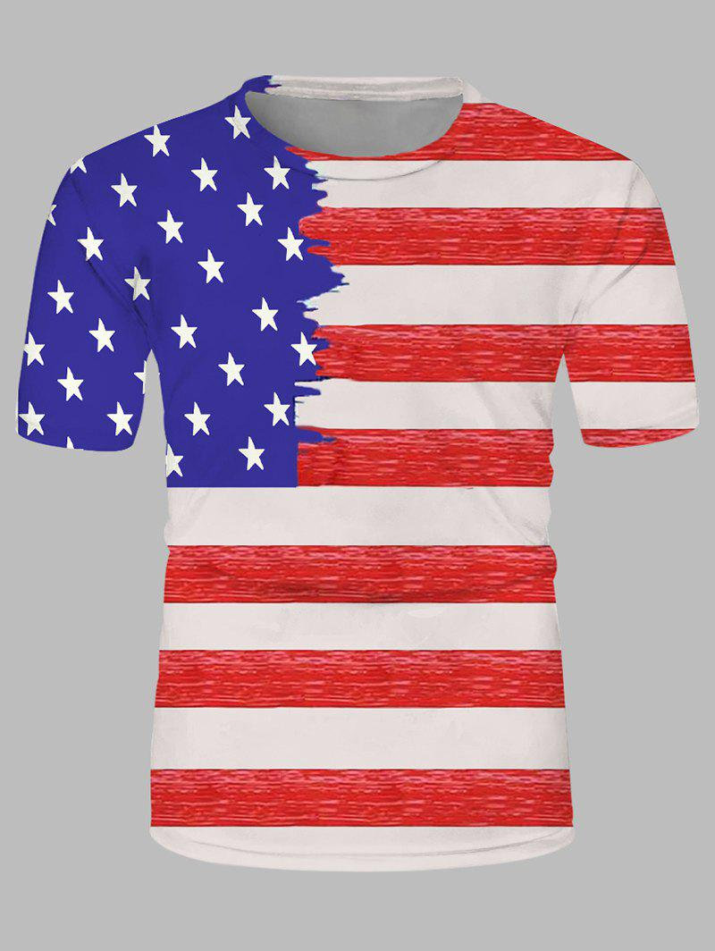 American Flag Print Crew Neck Leisure T Shirt - multicolor M