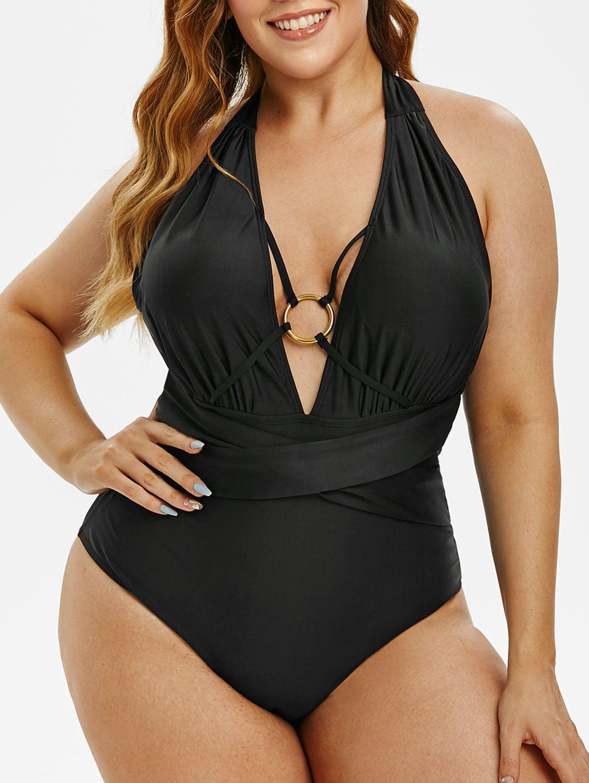 Plus Size Ruched O-ring Crossover Halter One-piece Swimsuit - BLACK 3X