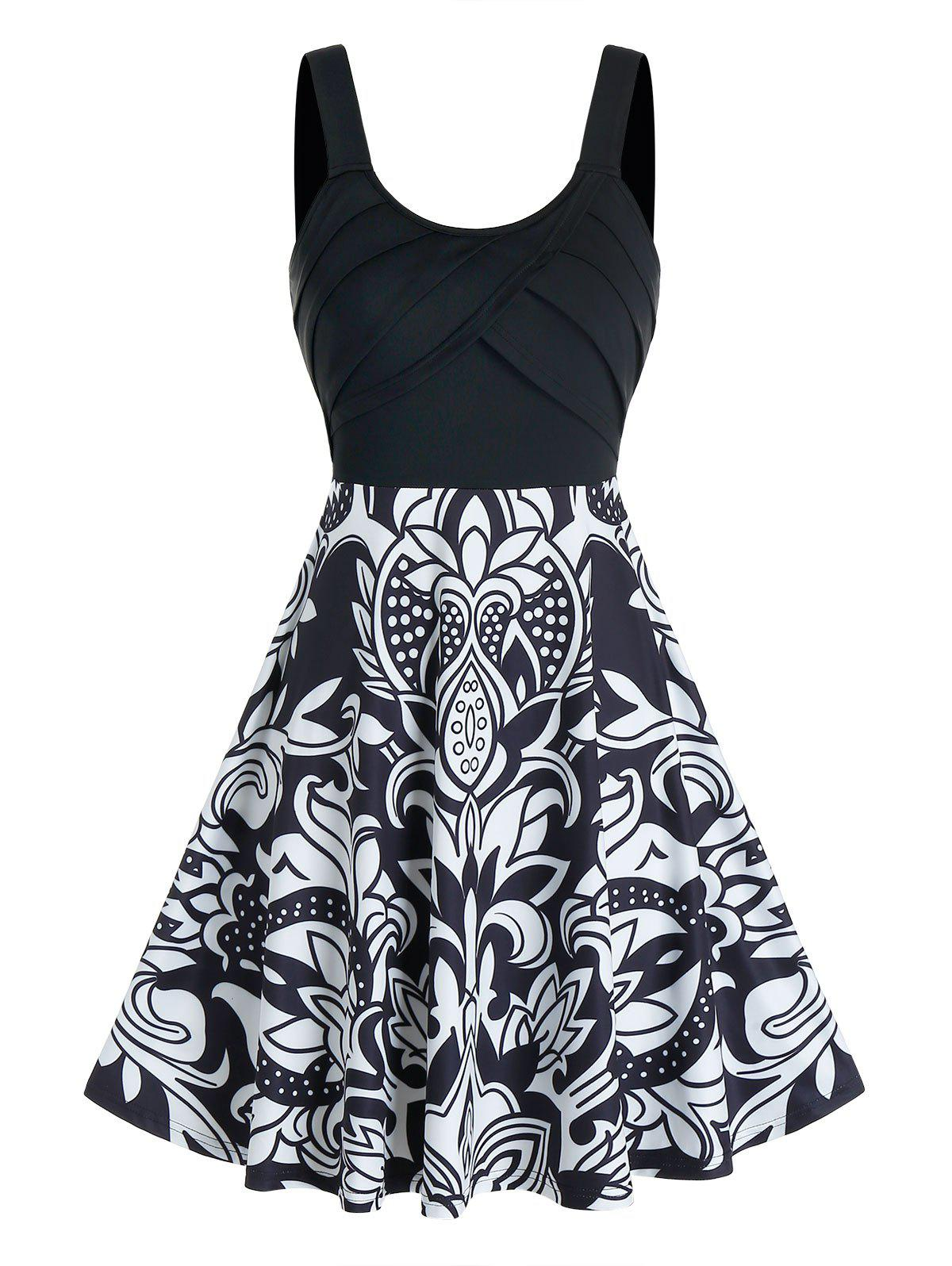 Front Pleated Flower Print Mini Cami Dress - BLACK 3XL