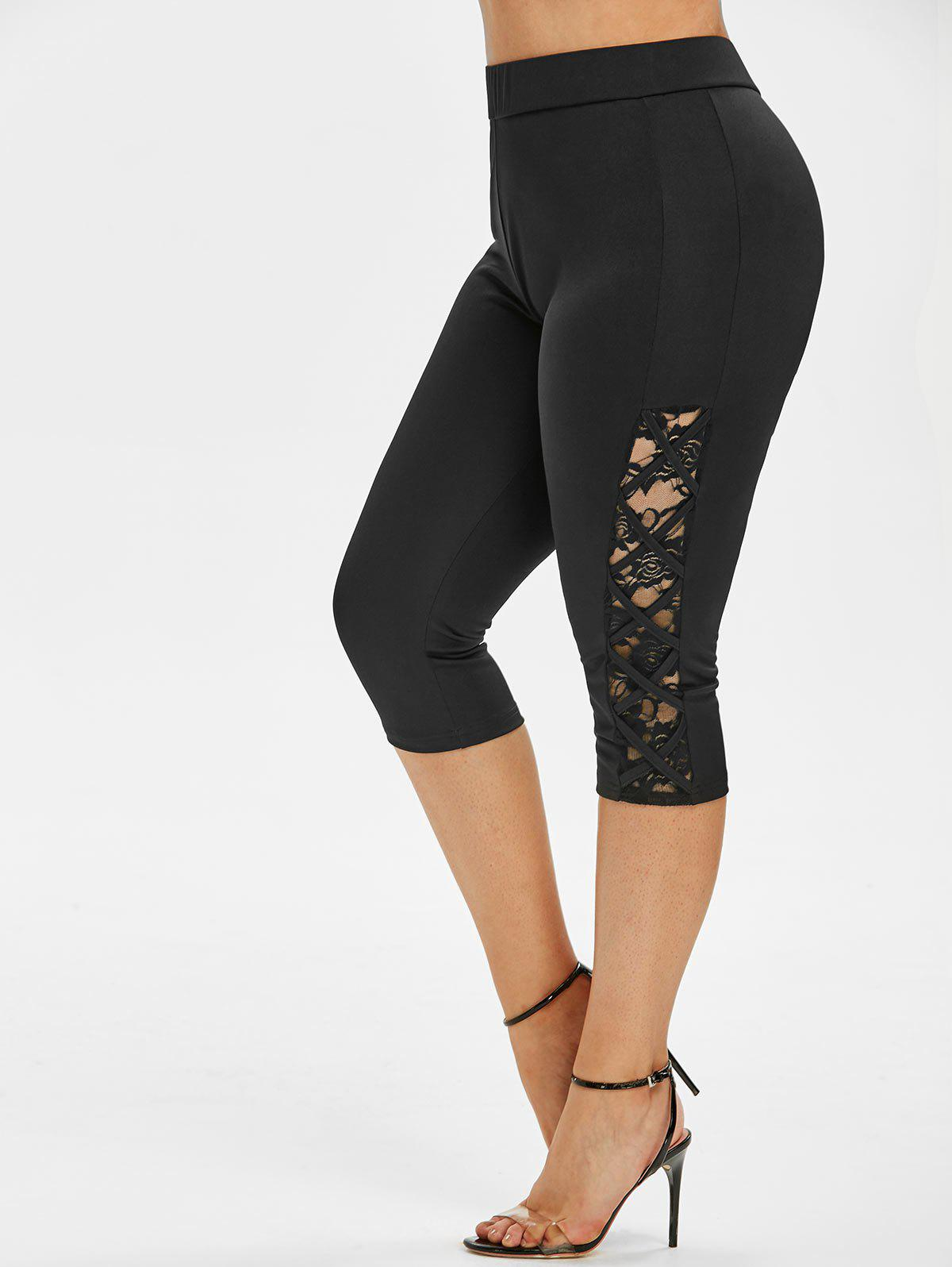 Plus Size Lace Panel Lattice Cropped Leggings - BLACK 3X