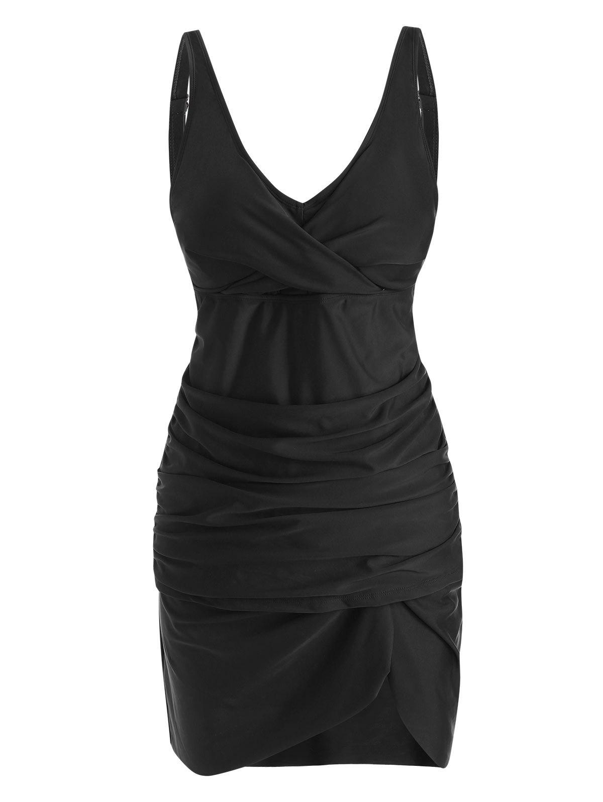 Twisted Slit Ruched Skirted Tankini Swimwear - BLACK S