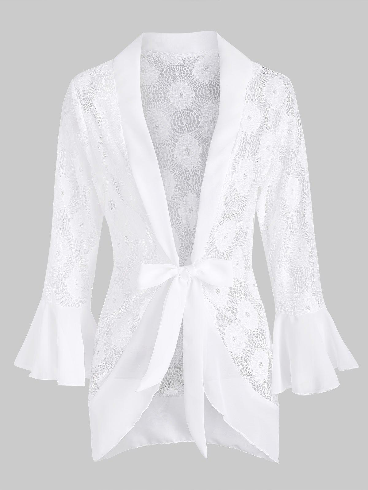 Flare Sleeve Tie Waist Lace Robe - WHITE L