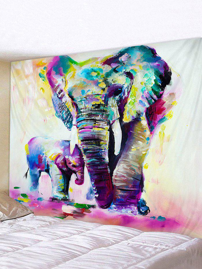 Hand Paint Elephant Print Tapestry Wall Hanging Decorations - multicolor W79 X L71 INCH