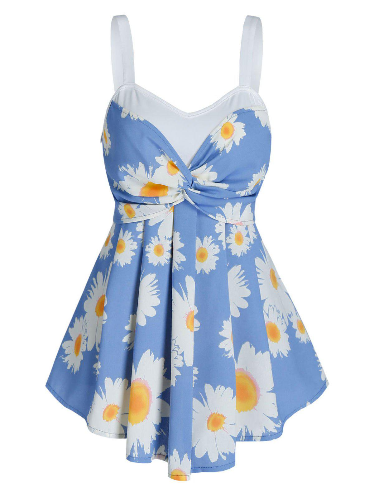 Flower Print Twist Front Pleated Tank Top - CORNFLOWER BLUE M