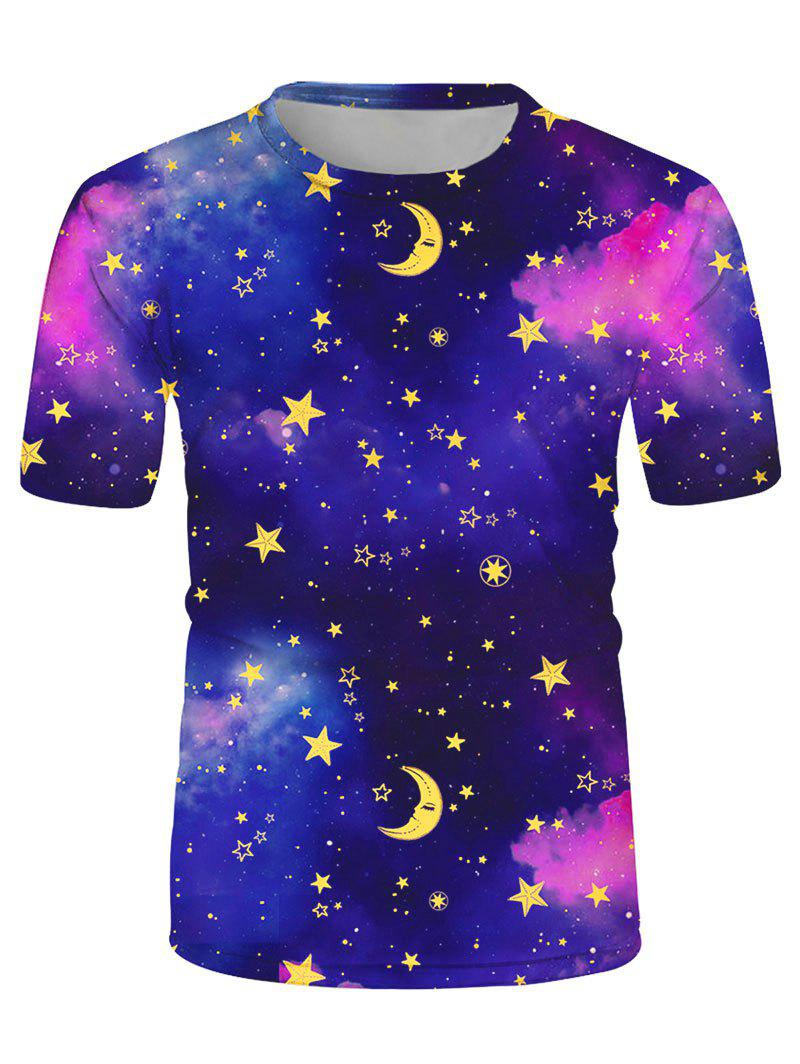 Starry Print Crew Neck Casual T-shirt - multicolor 2XL