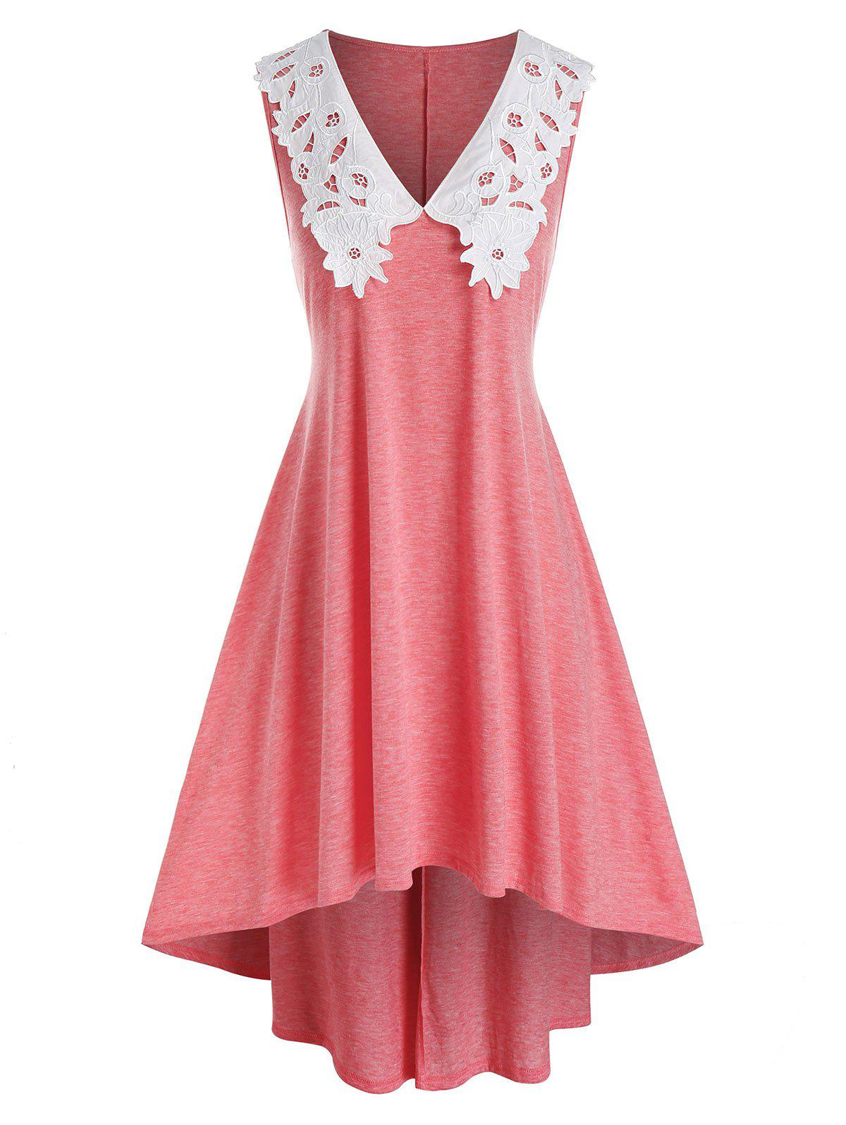 Plus Size Floral Embroidery Collar High Low Dress - LIGHT CORAL 5X