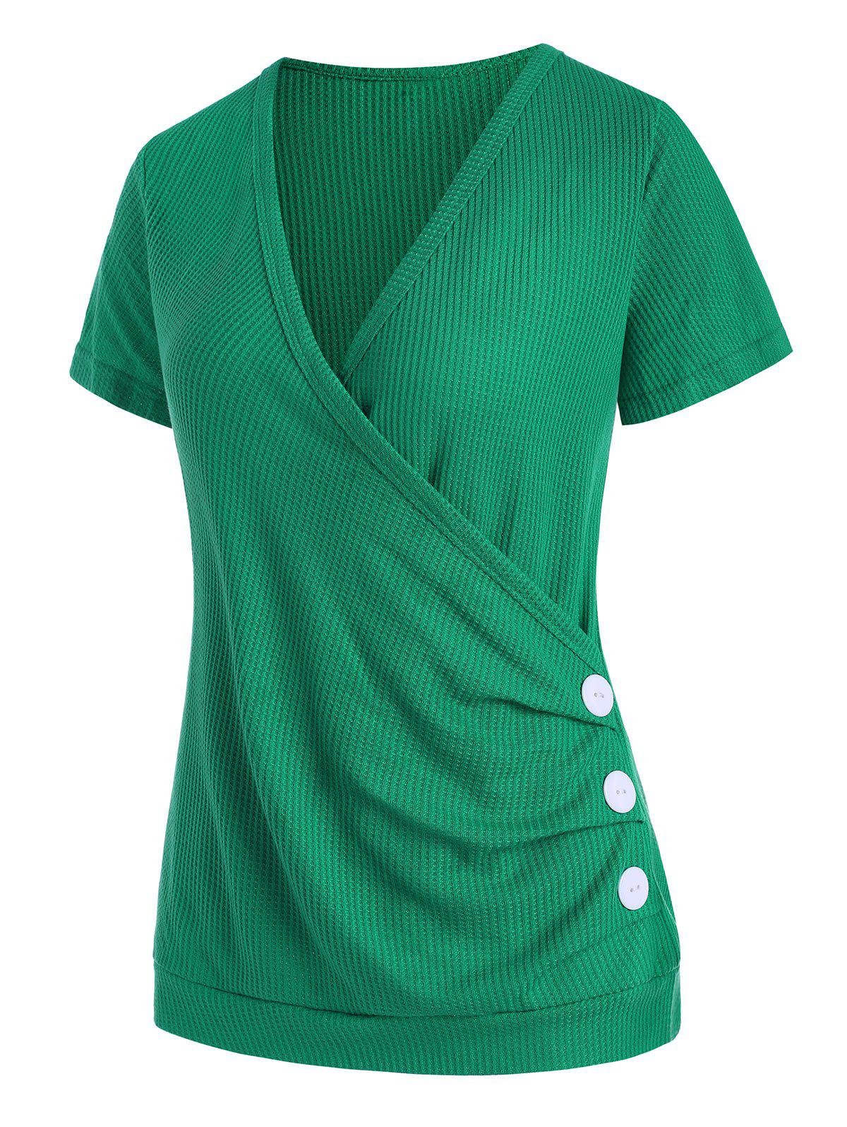 Plunge Surplice Textured Draped Buttoned Tee - GREEN M
