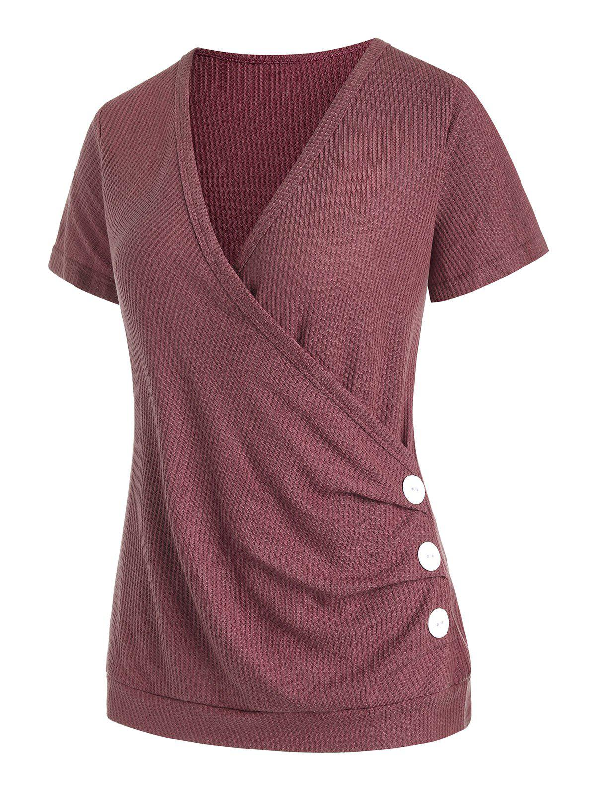 Plunge Surplice Textured Draped Buttoned Tee - DEEP RED XL