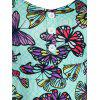 Plus Size Cold Shoulder Butterfly Print Romper - CORAL BLUE L