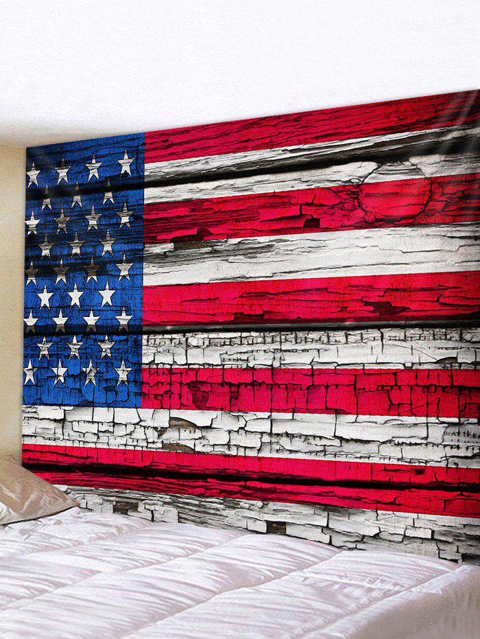 Flag Printing Wood Grain Waterproof Tapestry - multicolor W59 X L51 INCH