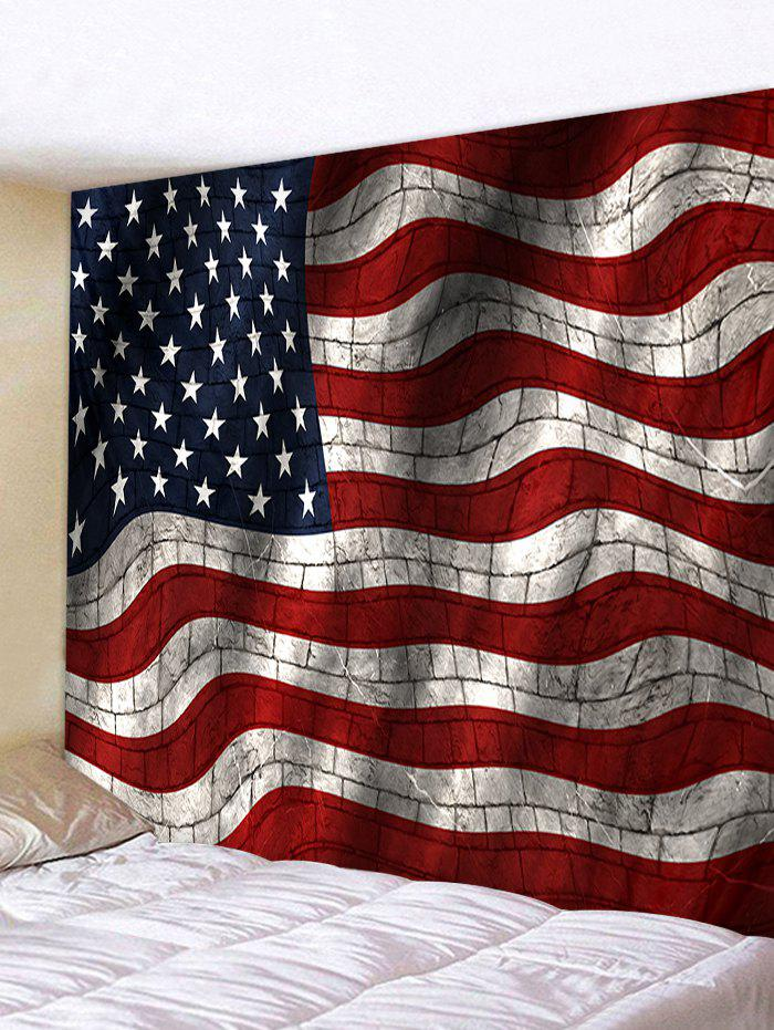 Twisted Brick Wall USA Flag Printed Polyester Tapestry - LAVA RED W91 X L71 INCH