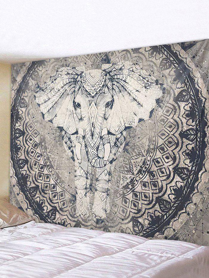 Bohemian Elephant Printed Tapestry Wall Hanging Art Decoration - multicolor W91 X L71 INCH